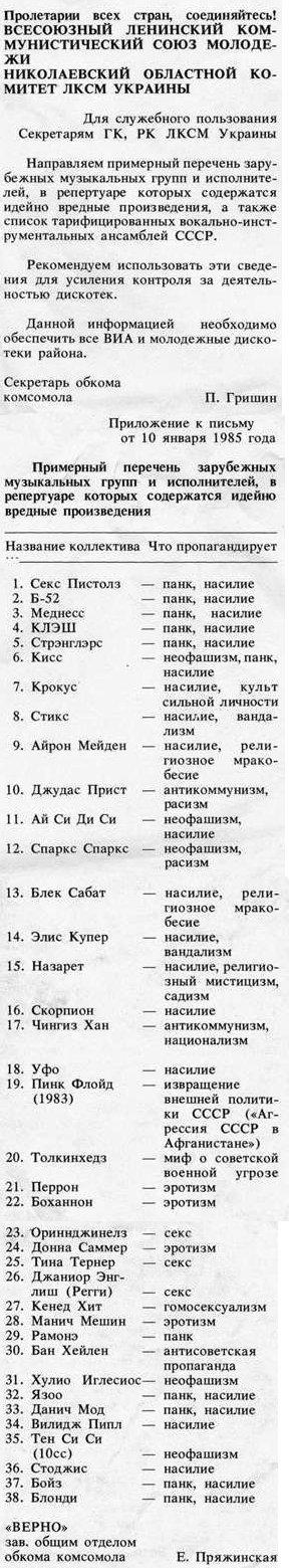 комунизъм, музика, забрана, еротика, нео-фашизъм, насилие, анти-комунизъм