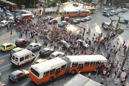 протест, попа, блокиране, път, автобус, кръстовище, коли, зелен, Витоша, София