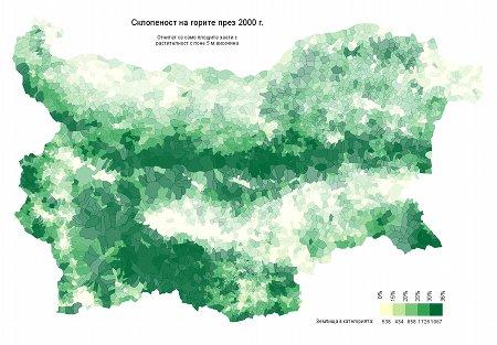 Средна склопеност във всяко землище. Тези с по-малко гори са с по-бледи цветове.